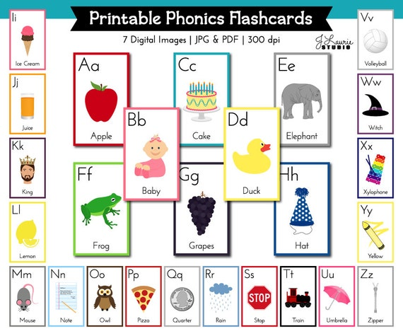 Alphabet Flashcards Alphabet Lesson Printable ABC Flash Etsy