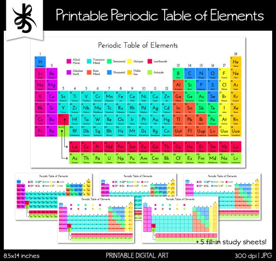 Periodic Table Of Elements Printable Periodic Table Science Etsy