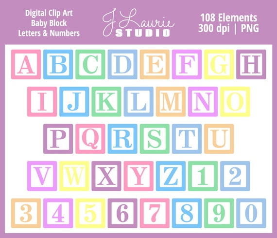 Digital Alphabet Letters Clipart Baby Block Letters Baby Etsy