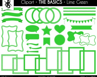 Digital Clipart-The Basics-Lime Green-Neon Green-Digital Elements-Frames-Arrows-Flags-Banners-Labels-Ribbon-Border-Instant Download Clip Art