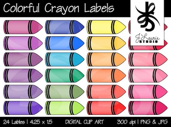 Digital Clipart Colorful Crayon Labels Printable Crayola Etsy