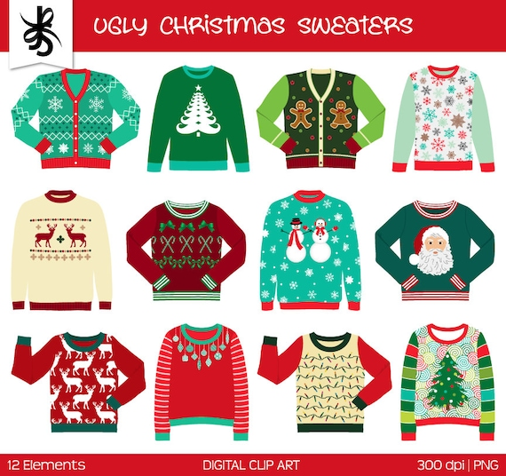 Christmas Sweater Clipart.Ugly Christmas Sweater Clipart Commercial Use Digital Clip Art Clothes Tacky Sweater Holiday Transparent Background Png Digital Scrapbook