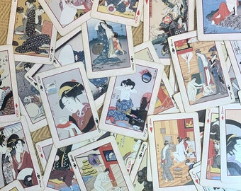 Complete Deck of Vintage Japanese Playing Cards with Geisha Ukiyo-E Artwork