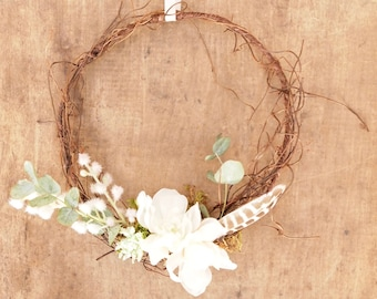 Mini Wreath Church Pew Chair Back or Table Decoration Rustic Boho Wedding Decor
