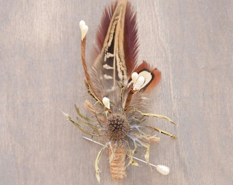 Rustic Natural Dried Eryngium Thistle and Pheasant Feather Boutonniere Grooms Buttonhole Everlasting Keepsake