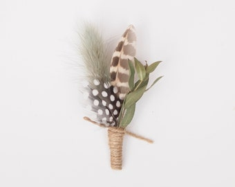Rustic Natural Dried Eucalyptus and Feather Boutonniere Grooms Buttonhole Everlasting Keepsake