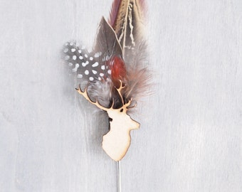 Mr Lister Stag and Game Feather Boutonniere  Buttonhole Lapel Pin Hat Pin