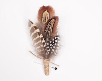 Rustic Wedding Feather Boutonniere, Men's Lapel Pin, Grooms Buttonhole, Everlasting Keepsake