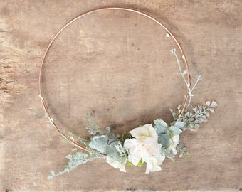 Floral and Rose Gold Hoop Wreath- wedding hoop bouquet-bridesmaid hoop- wedding decor- wall hanger