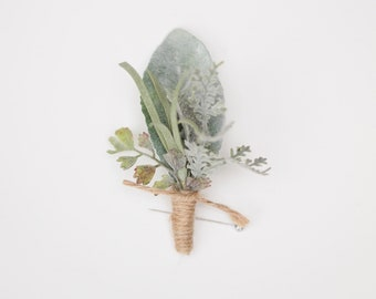 Eucalyptus, Lambs Leaf, Boutonniere Faux Everlasting Greenery Buttonhole for Groomsmen
