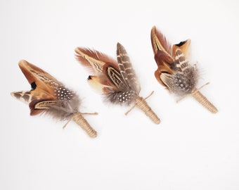 Set of 3 Mixed pheasant Feather Rustic Boutonniere Groomsmen Buttonholes