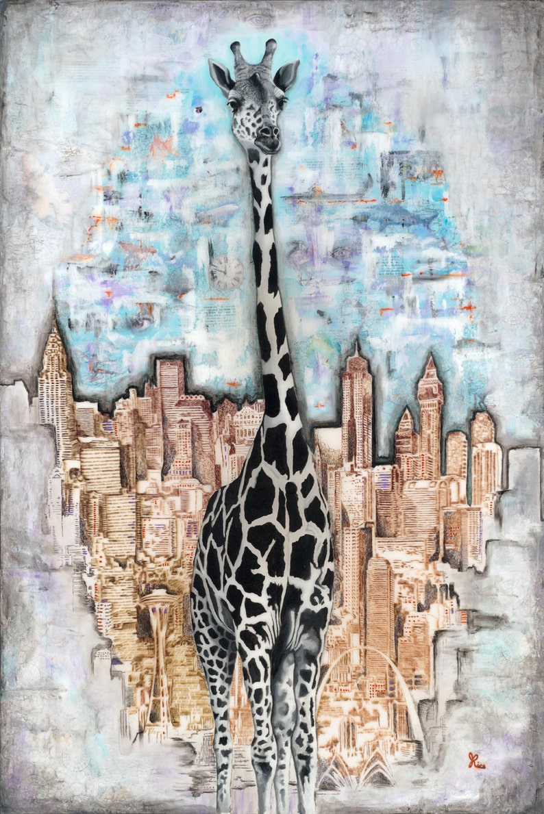 Giraffe In The City 13 X 19 Signed Art Print By Etsy
