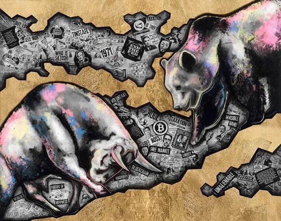 Mixed Media High Quality Giclee Fine Art Bull Print