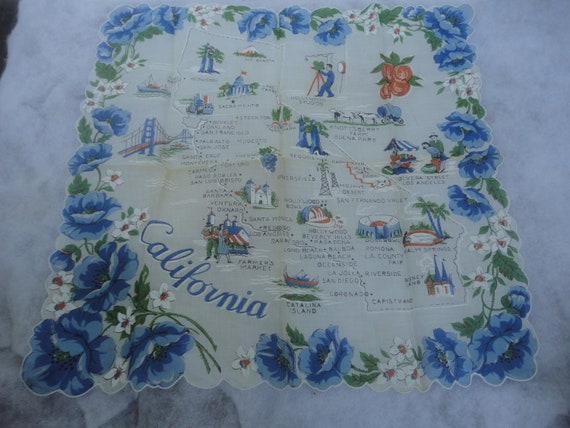 Vintage Scallop Edge Cotton California Hankie, Cot