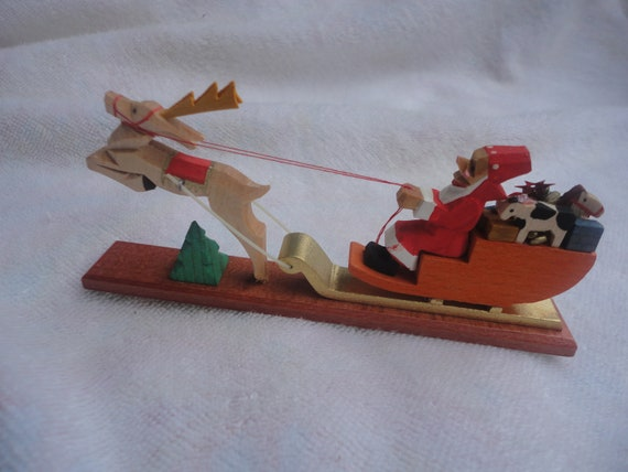 Vintage Mini Dregeno Wood Carved Santa and Sleigh, Dregeno, Made in Germany