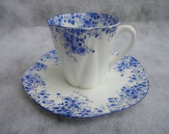 Vintage Shelley Dainty Blue Tea Cup Fine Bone China England, Shelley, Dainty Blue, Shelley England, Small Blue Floral Tea Cup, Blue Tea Cup