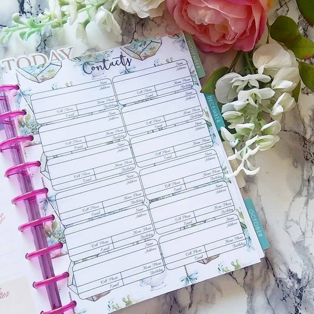 Happy Planner Contacts Inserts PRINTABLE - PDF - Classic 7 x 9.25 Create 365 | Me & My Big Ideas | mambi