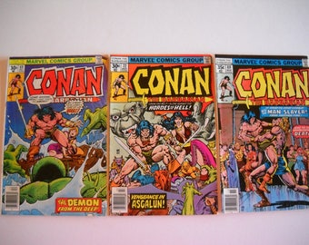 Marvel Comics, Conan the Barbarian, issue #69 Dec. 1970, issue #72 March 1977, issue #80 Nov. 1970, comic books, vintage