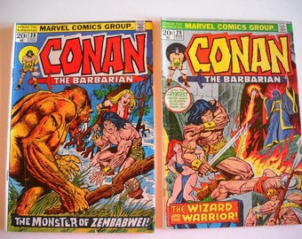 Marvel Comics, Conan the Barbarian, issue #28 1973, Issue #29 1970, comic books, vintage