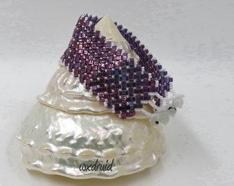 Wide Herringbone Dark Red Half Tila Bracelet, Dark Red and White Seed Bead Bracelet, Dark Red Cuff Bracelet, Bead & Loop Toggle Bracelet