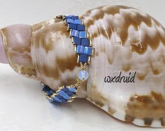 Tilas on a Slant Bracelet, 2 row Tila Bracelet with gold beaded edge, Bead & Loop Toggle Bracelet, Matte and Glossy Blue Tila Bead Bracelet