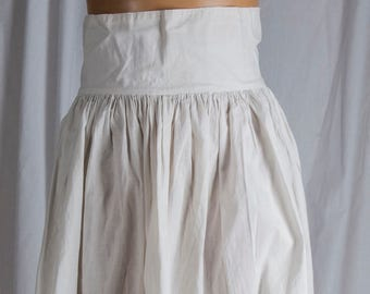 Authentic Victorian, Edwardian, cotton pleated lace half slip. Picket fence, or Fingers of lace at hem., High waist,