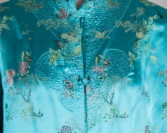 ee300f95de44b8 Vintage Blue satin cheongsam dress