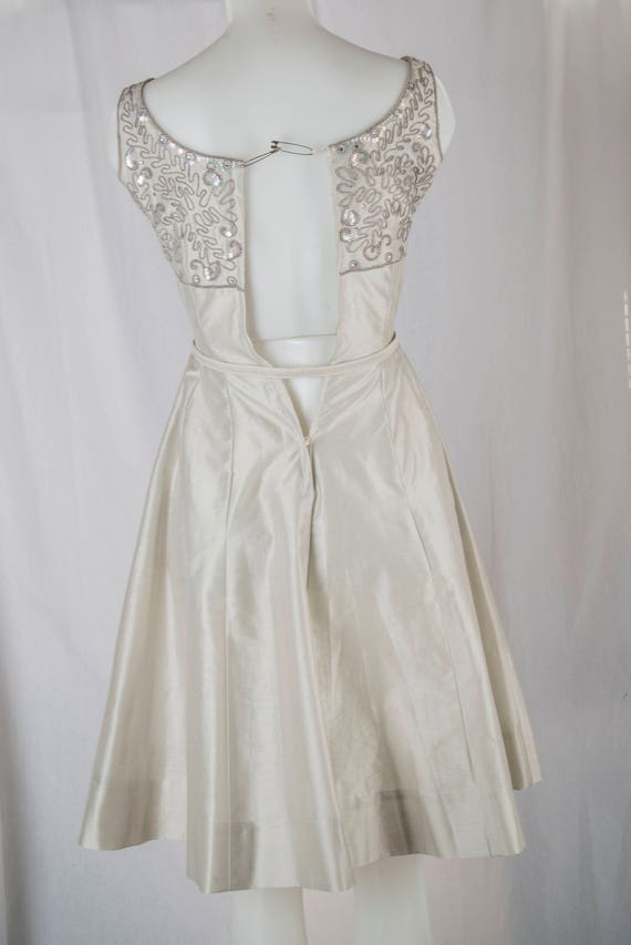 Natlynn, 1960s grey, sequined party dress. Tailor… - image 2