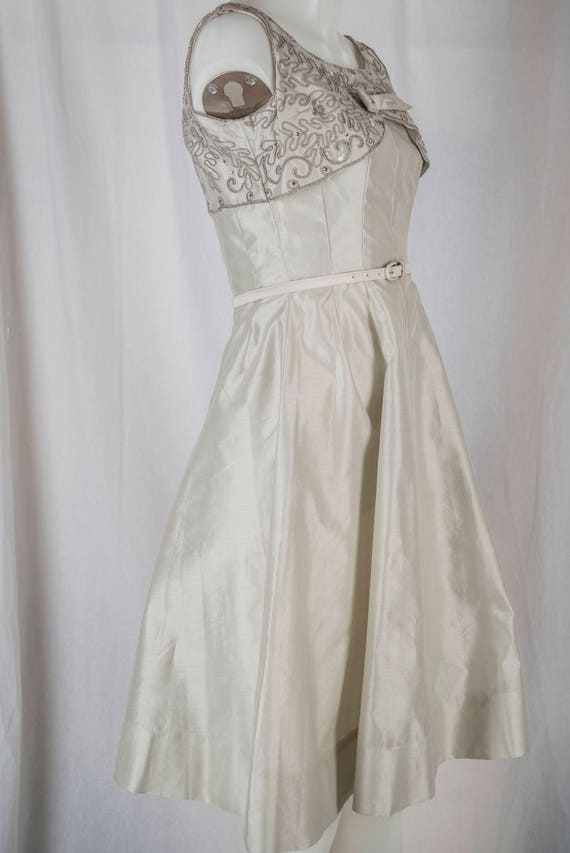 Natlynn, 1960s grey, sequined party dress. Tailor… - image 5