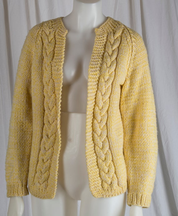 1960s Hand Knit yellow cable cardigan. Classic,  s
