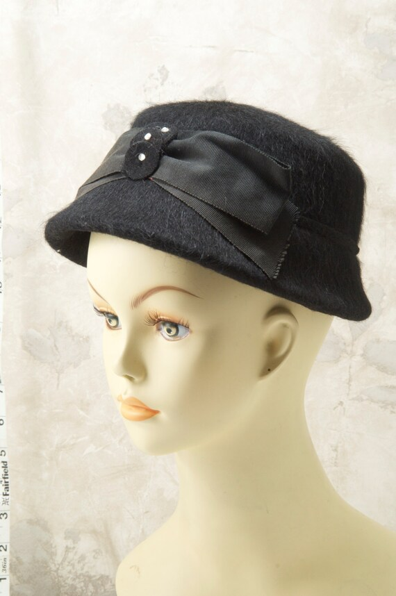 Black fuzzy wool pork pie hat w/ribbon and adornme
