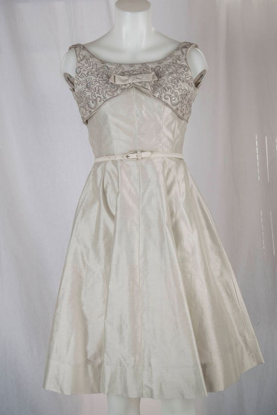 Natlynn, 1960s grey, sequined party dress. Tailor… - image 1