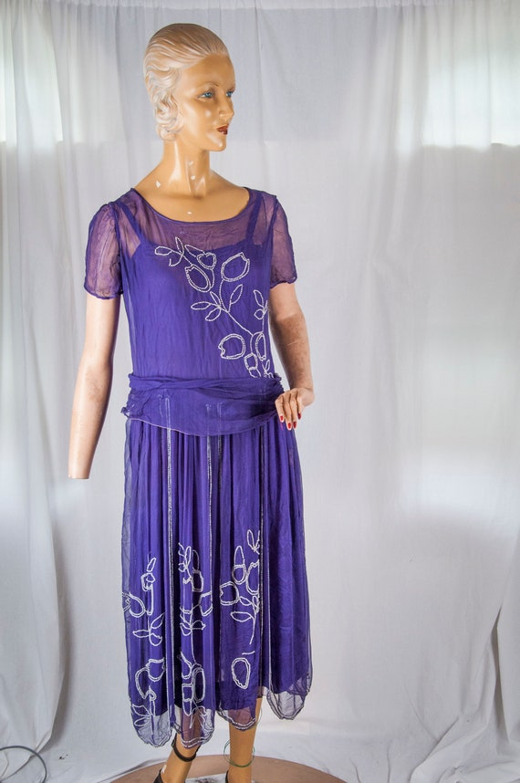1920s,30's deep purple beaded chiffon dress. Flapp