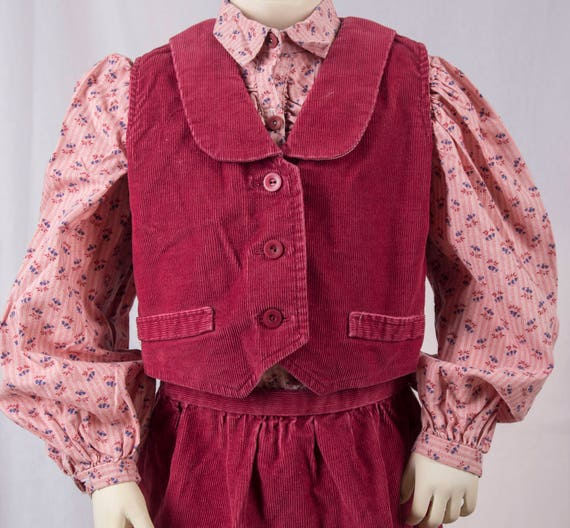 1970s little girls 3 piece maroon corduroy skirt s