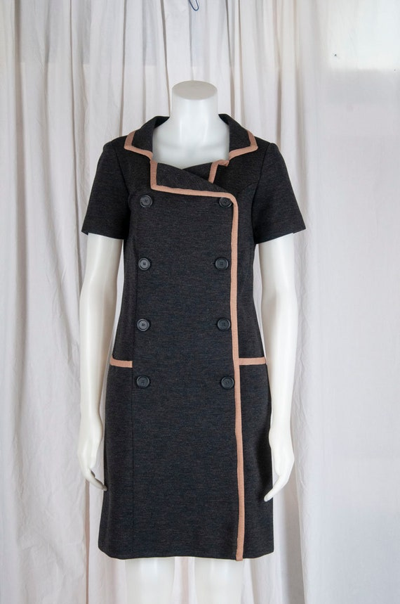 1970s Carol Craig grey, woven double breasted dres