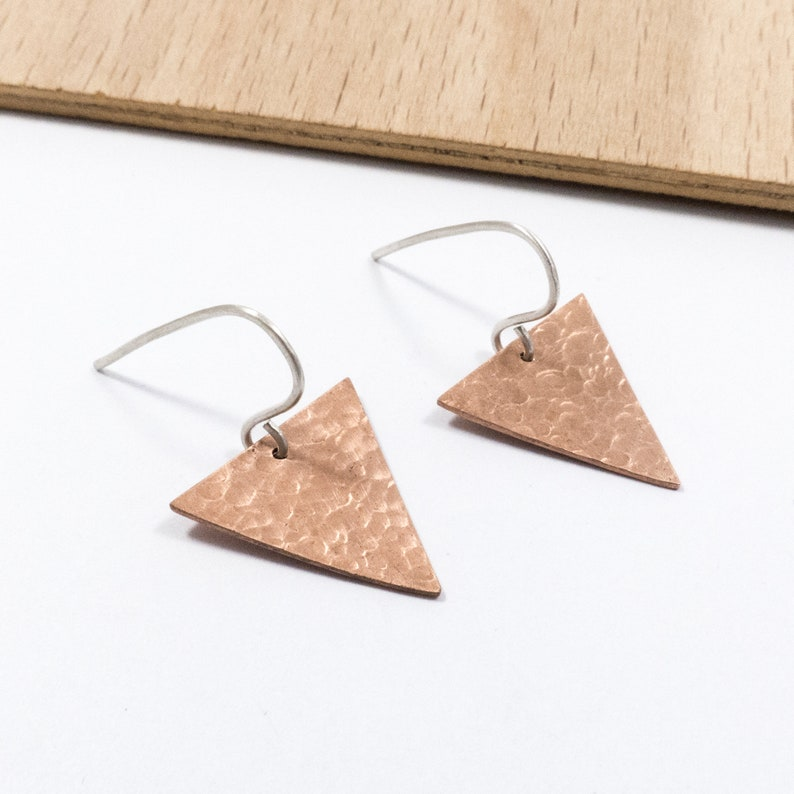 45f683ad9 Hammered Copper Triangle Earrings Copper Jewellery | Etsy
