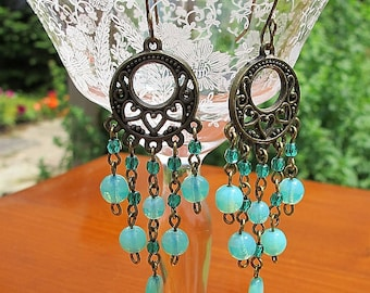 Stunning teal sea opal filigree chandelier earrings