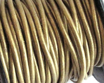 2mm Round Metallic Antique Gold Leather Cord for jewelry making (3 or 5 YARDS) - great for necklaces and bracelets