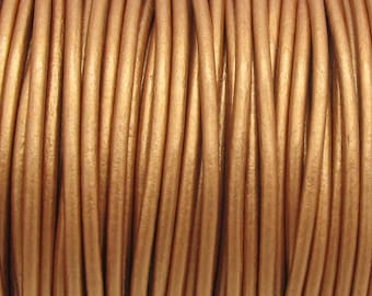 Metallic Copper / Rose Gold Leather Cord 2mm Round for jewelry making (3 or 5 YARDS) - great for necklaces and bracelets