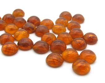 """Lampwork Glass Smooth Round Cabochons, """"Flawed Topaz """" Dark Honey Amber Color 8 pc 4 mm, 5mm, 7mm Flat Back Glass Cabs for Setting or Gluing"""