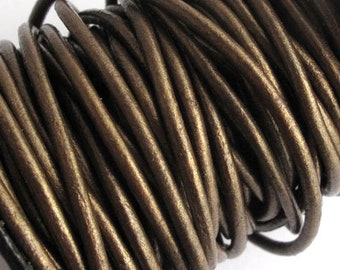 2mm Round Metallic Bronze Leather Cord for jewelry making (3 or 5 YARDS) - great for necklaces and bracelets