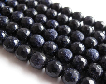 "Blue Goldstone 7mm Faceted Round Beads (one strand) Dark Navy Blue with Copper flecks ""Starry Night"""