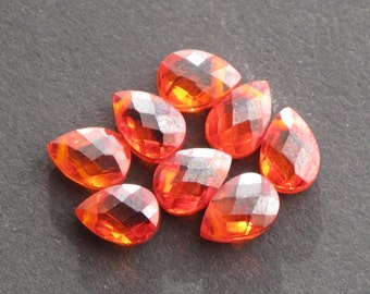 "Orange / Red ""Fire Opal"" CZ 5x7mm Briolette Faceted Flat Pears, Top Drill Beads - (8 pieces)"
