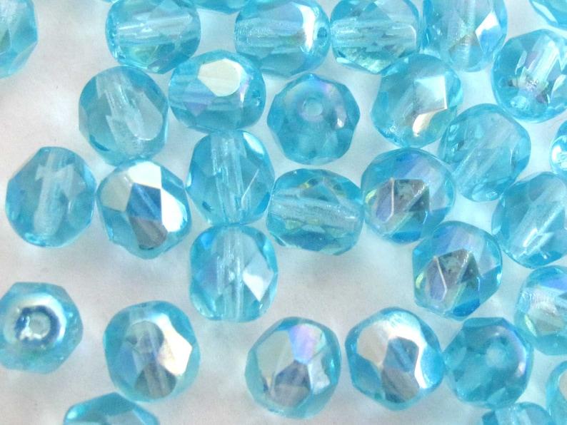 Aqua A/B 4mm 6mm 8mm Czech Glass Beads  Fire Polished Aurora image 0