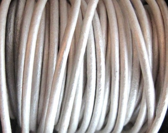 2mm Round Pearlescent White Leather Cord for jewelry making (3 or 5 YARDS) - great for necklaces and bracelets