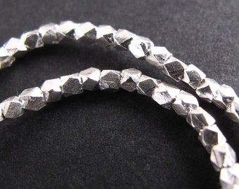 Silver Nugget Beads, Fine Silver Karen Hill Tribe 1.5 mm Facet Spacer Beads (3 or 6 inches)