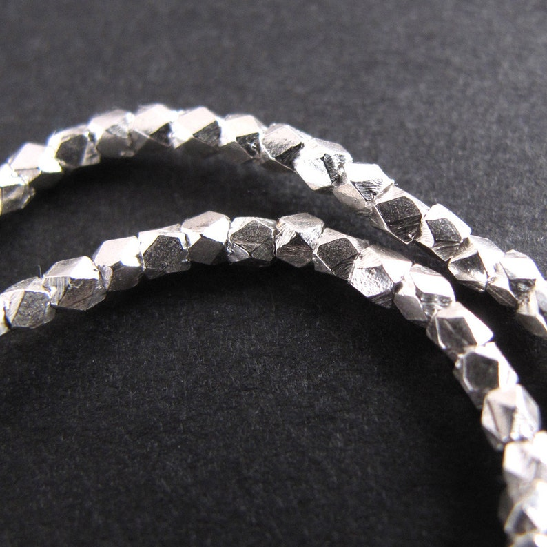 Silver Nugget Beads Fine Silver Karen Hill Tribe 1.5 mm Facet image 0