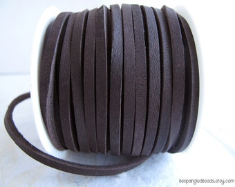 3mm Dark Brown or Black Flat Latigo Lace Leather Cord 1/8th inch (2 YARDS) - great for necklaces and bracelets