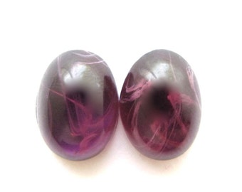 """CLOSEOUT: Purple Lampwork Glass """"Flawed Amethyst"""" Smooth Oval Cabs, 10x14 mm (pair) imperfect"""