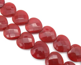 Large Red Heart Beads 28mm Faceted Quartz Glass Focal Bead Pendant for Necklaces- 1 pc, 3 pc, 5 pc, 10 pc